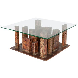 1968 Brutalist Copper & Brass Coffee Table