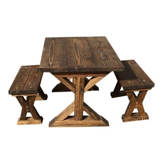 Wooden X Style Kids Table & Benches - Set of 3