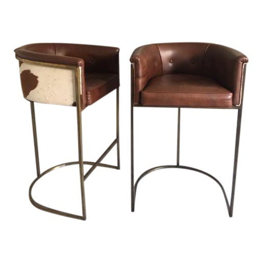 Image of Arteriors Calvin Leather Bar Stools - A Pair