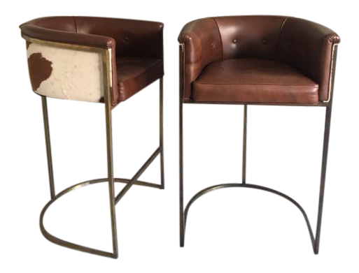 image of arteriors calvin leather bar stools a pair