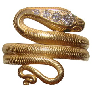 18kt Gold Antique Snake Ring with Diamonds and Emerald Eyes