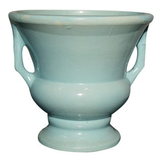 Vintage Sea Green Double Handled Urn