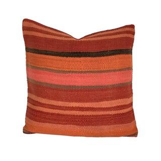 Vintage Orange & Red Flatweave Moroccan Pillow