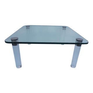 Pace Collection Lucite & Chrome Legs Coffee Table