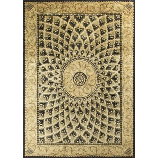 Gold Colored Hand-Knotted Wool Rug 9' X 12'