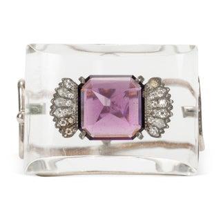 1950s Lucite & Purple Rhinestone Bracelet