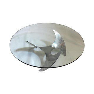 Aluminum Propeller Base Glass Coffee Table