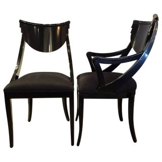 Modernist Black Lacquered Pair of Side / Dining /Accent Chairs by Ello
