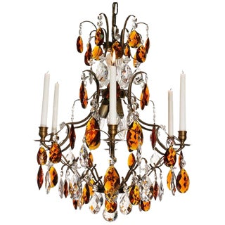 Baroque Chandelier, 6 Ebony Almond Amber