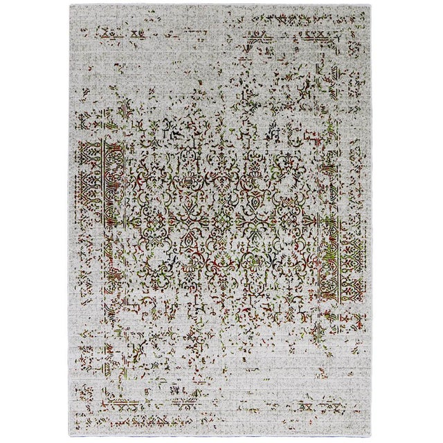 Image of Orange & Green Distressed Rug - 5'3'' X 7'8''