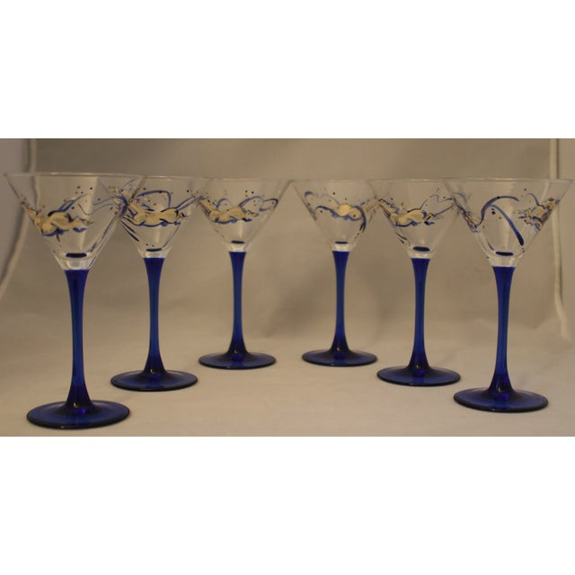 Image of 6 French Hand Painted Cobalt Stem Martini Glasses