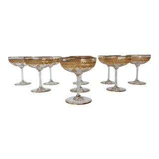 Antique Saint-Louis Gilt Decorated Glass Champagne Coupes- Set of 9