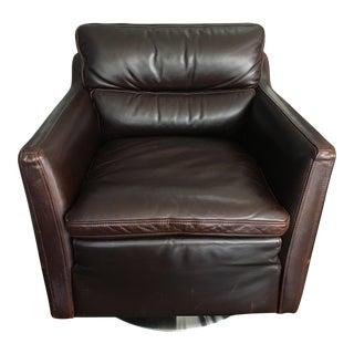 Moroni Chocolate Brown Leather Swivel Chair