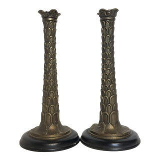 Palm Tree Candle Holders - A Pair