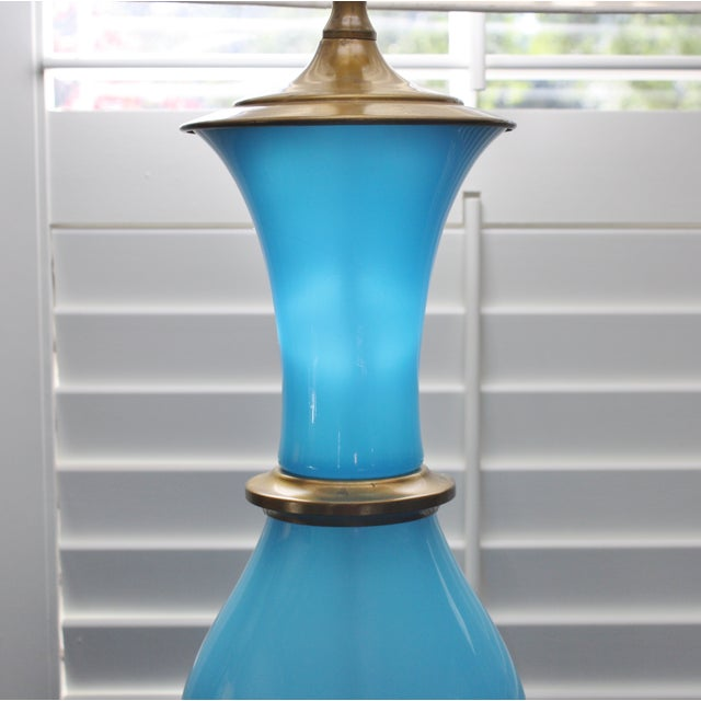 Vintage Murano Opaline Blue Lamp - Image 11 of 11