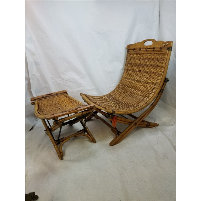 Vintage Rattan Sling Chair With Ottoman - Image 2 of 8