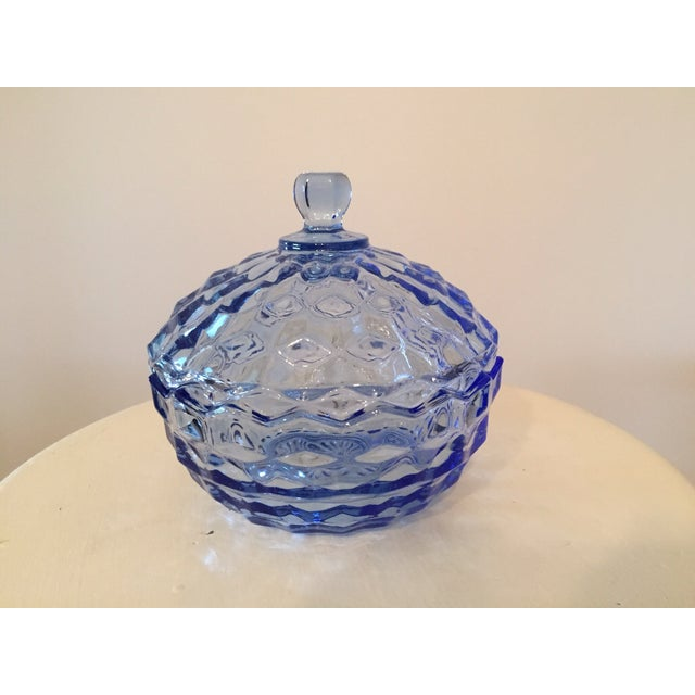 Vintage Blue Glass Lidded Candy Dish - Image 2 of 3