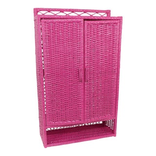 Pink Wicker Wall Shelf