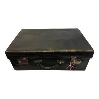 Vintage Black Leather English Suitcase & Key