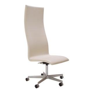 Oxford High Back Chair in Ivory Leather by Arne Jacobsen for Fritz Hansen