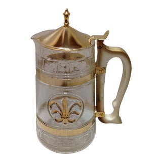 Fleur-De-Lis Gold Plate Sculptured Glass Carafe