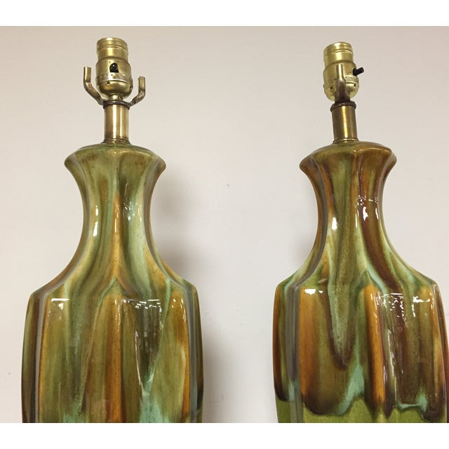 Image of Mid-Century Green Pottery Table Lamps - A Pair