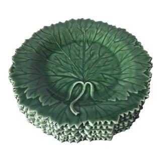 6 Grape Leaf Bordallo Pinheiro Majolica Plates