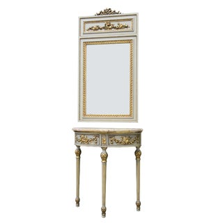 Louis XVI Style Painted and Gilded Demilune Console with Trumeau Mirror