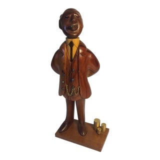 Mid-Century Businessman Wood Carved Sculpture