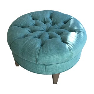 Crate & Barrel Teal Blue Ottoman