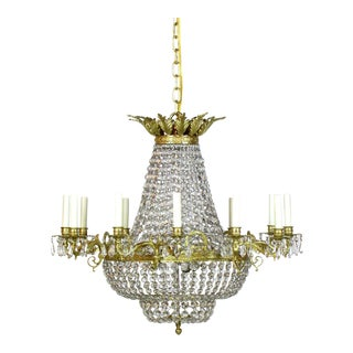 Bronze and Crystal Basket Chandelier