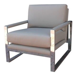 Exceptional Clean-Line Chrome Armchair
