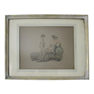 Antique French Woman & Child Framed Print