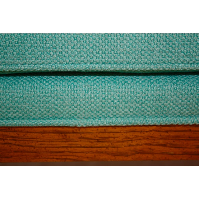 Mid-Century Tufted Turquoise Bench - Image 6 of 8