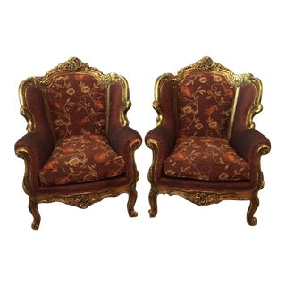Bergere Chairs with Gold Leaf - Pair