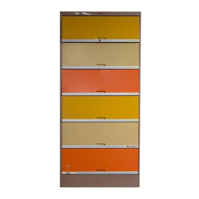 Vintage Orange & Yellow Steel Tab Office Cabinets - Image 1 of 7