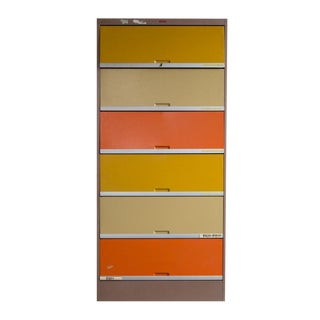 Vintage Orange & Yellow Steel Tab Office Cabinets