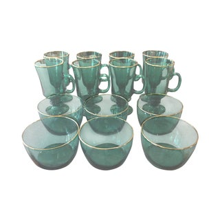 Vintage Green Glass Mugs & Dishes - Set of 14