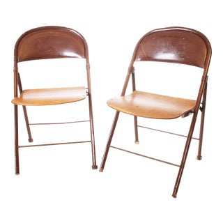 Vintage Metal & Bentwood Folding Chairs - A Pair