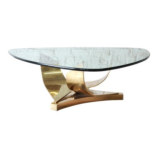 Ron Seff Sculptural Brass and Glass Cocktail Table, Circa 1980s