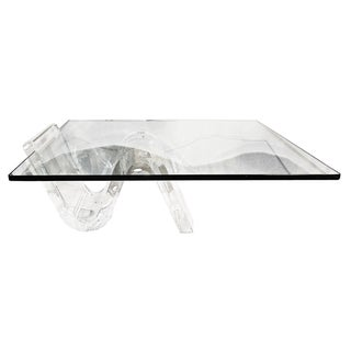Modern Lucite and Glass Coffee Table