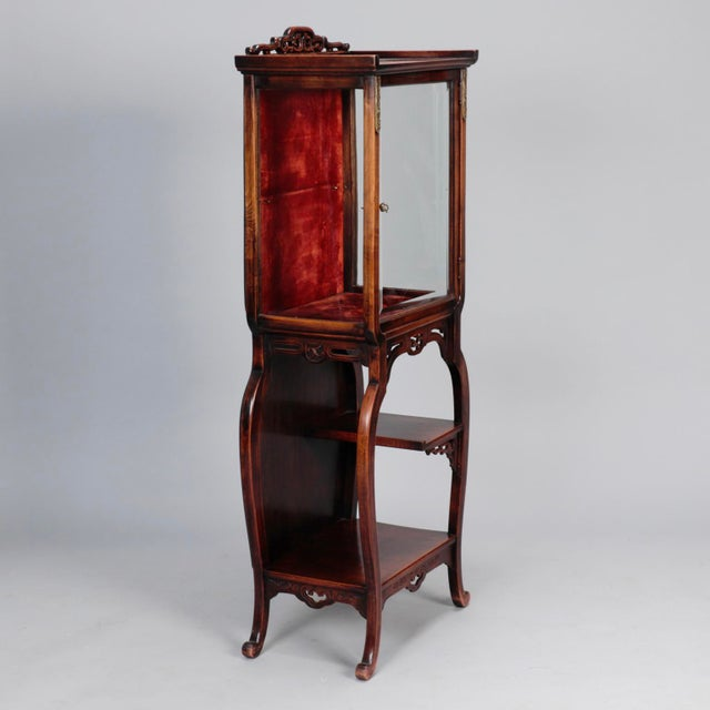 Tall Narrow Chinese Carved Wood Vitrine Display Cabinet - Image 7 of 11