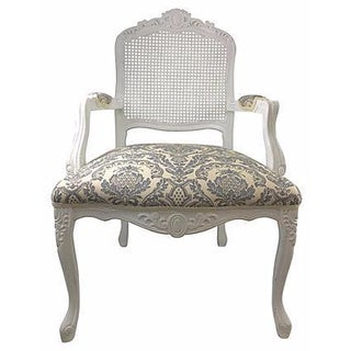 French White Cane & Linen Chair