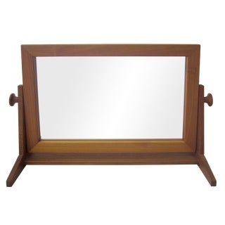 Teak Mirror with Swiveling Face