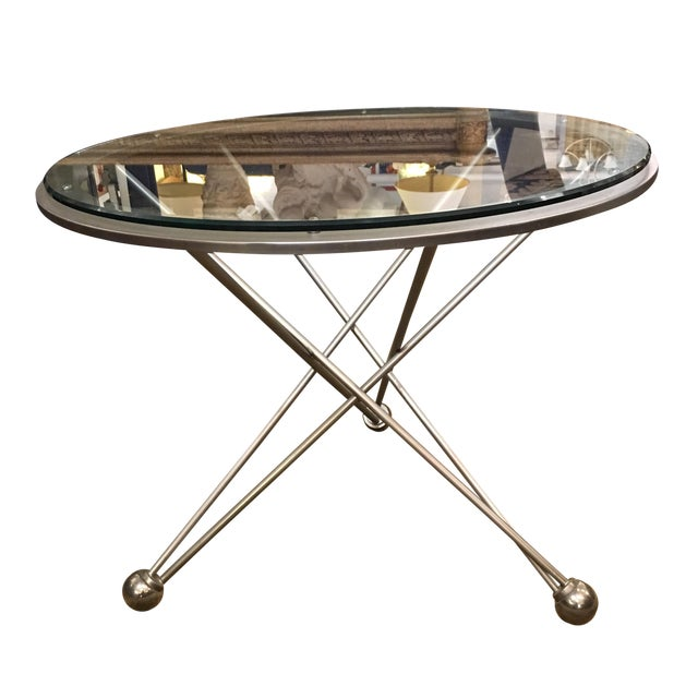 Image of Modern Round Glass And Steel Base Side Table