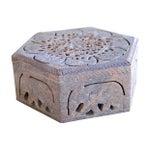 Image of Carved Soapstone Box w/Elephant Motif