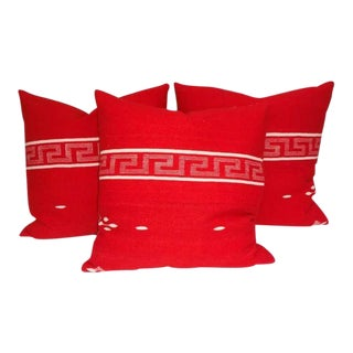 Collection of Three Brilliant Texcoco Woven Pillows