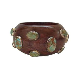 Turquoise & Wood Bangle