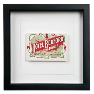 Framed French Bedford Hotel Luggage Label