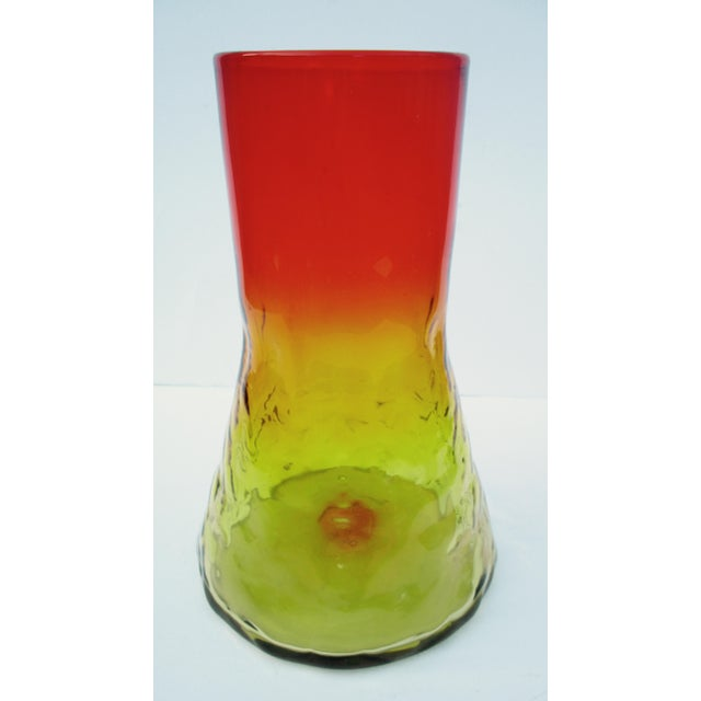 Mid-Century Modern 1960s Orange & Yellow Blenko Glass Vase - Image 9 of 9
